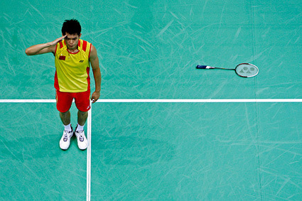 Lin Dan of China reacts after winning the gold medal for the men's badminton singles final match against Lee Chong Wei of Malaysia during the Beijing 2008 Olympic Games August 17, 2008.     REUTERS/Beawiharta (CHINA)